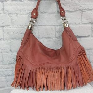 B. Makowsky | Pink Leather Fringe Hobo Bag